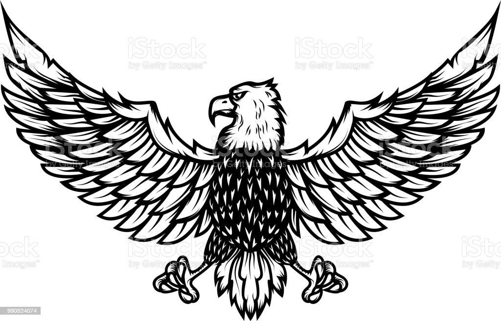 Eagle illustration on white background. Design element for poster, card, print,  label, emblem, sign.