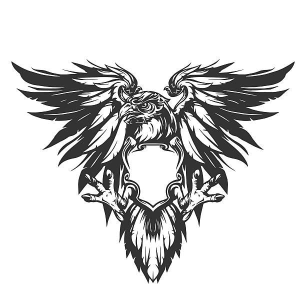eagle illustration - wings tattoos stock illustrations, clip art, cartoons, & icons