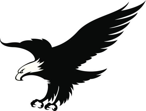 Eagle in black and white mascot