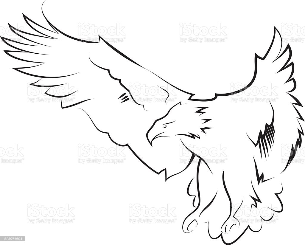 Eagle in the hunting position. Line art. royalty-free eagle in the hunting position line art stock vector art & more images of abstract