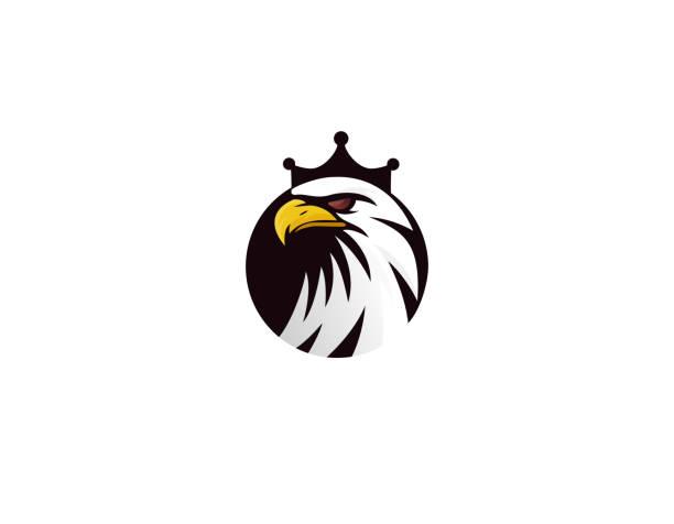 illustrations, cliparts, dessins animés et icônes de tête de roi d'aigle avec la couronne-illustration - aigle