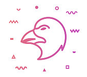Eagle outline style icon design with decorations and gradient color. Line vector icon illustration for modern infographics, mobile designs and web banners.