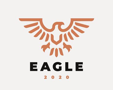 Eagle linear logo. Hawk heraldic emblem design editable for your business. Vector illustration.
