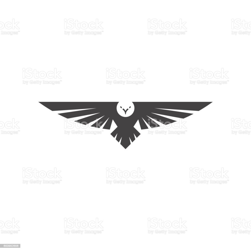Eagle logo, silhouette predator hawk bird wide wingspan floating in the air, flying animal tattoo emblem mockup vector art illustration