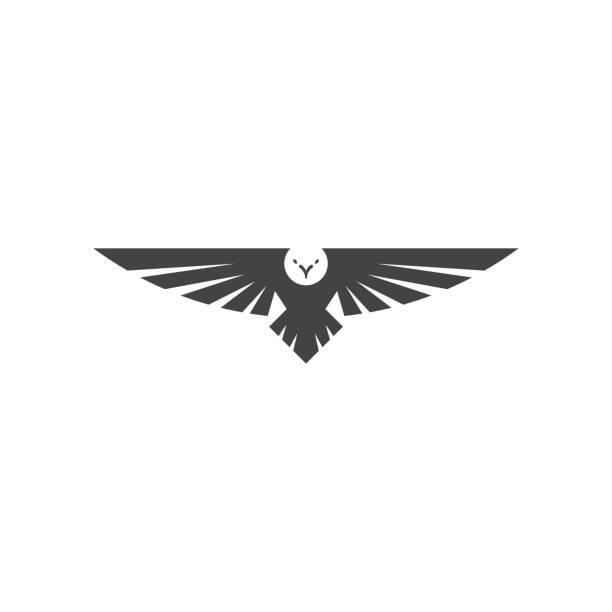 Eagle logo, silhouette predator hawk bird wide wingspan floating in the air, flying animal tattoo emblem mockup vector art illustration