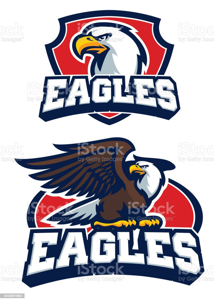 eagle mascot in set vector art illustration