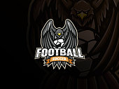 Eagle soccer mascot vector illustration logo. Eagle covers the soccer ball with wings, Emblem design for sports team and competition. Vector illustration