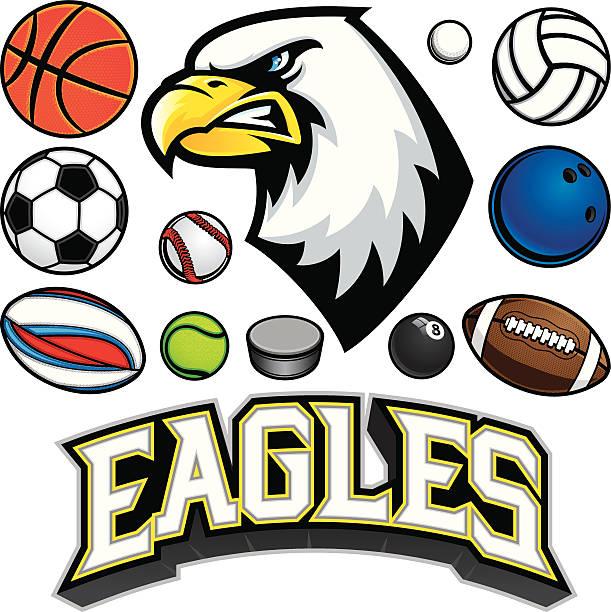 Eagle Mascot Sports Package vector art illustration
