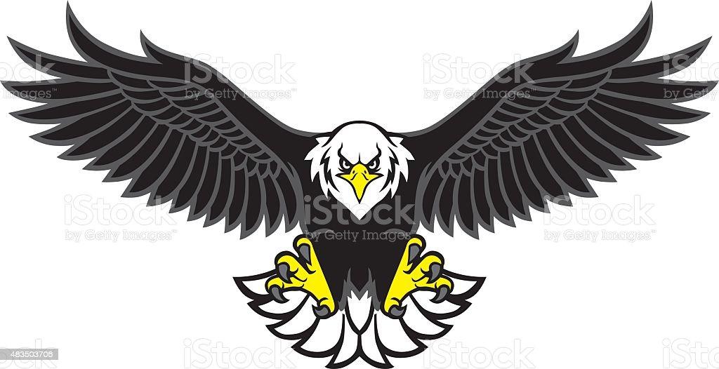 eagle mascot spread the wings vector art illustration