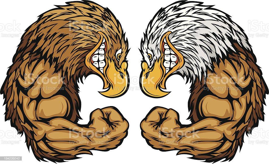 Eagle Mascots flexión de brazos de historieta - ilustración de arte vectorial