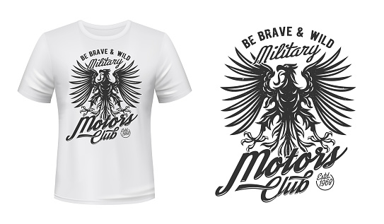 Eagle motors club t-shirt print mockup, military