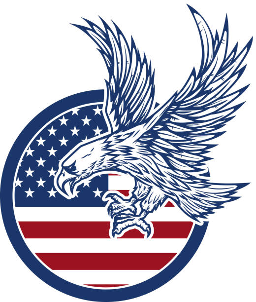 Royalty Free Red White And Blue Eagle Drawings Clip Art Vector