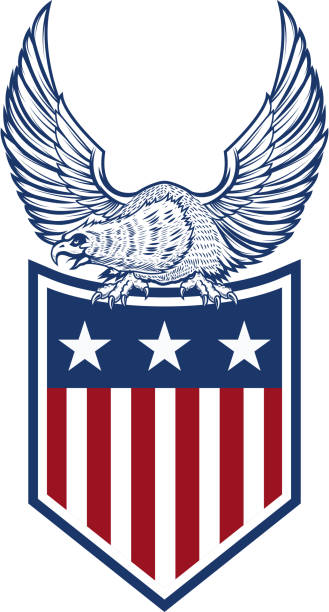 Royalty Free Red White And Blue Eagle Clip Art Vector Images