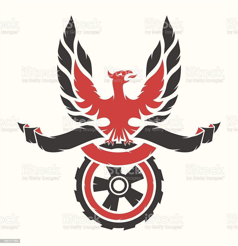 Eagle on the wheel royalty-free stock vector art