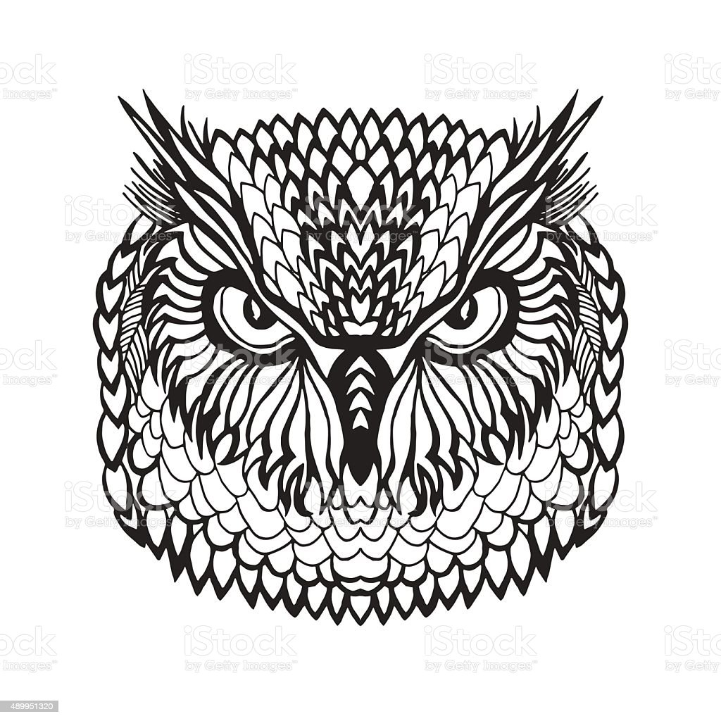 Eagle Owl Head Tribal Sketch For Tattoo Or stock vector ...