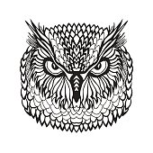 Eagle owl head. Tribal sketch for tattoo or