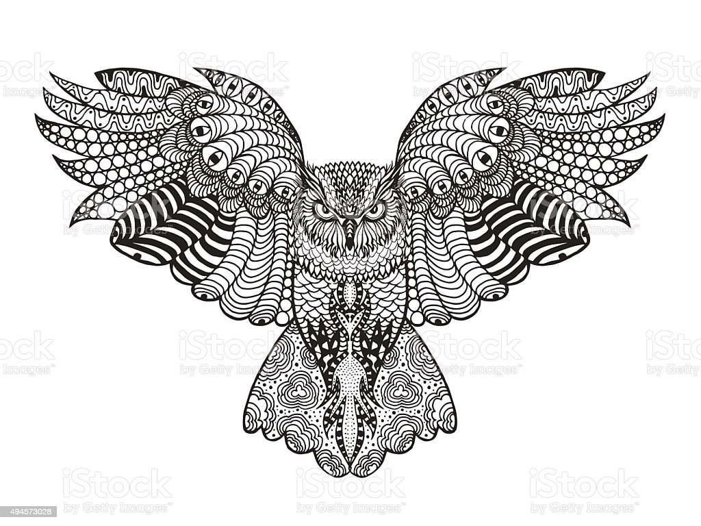 Zentangle stilisierte eagle owl – Vektorgrafik