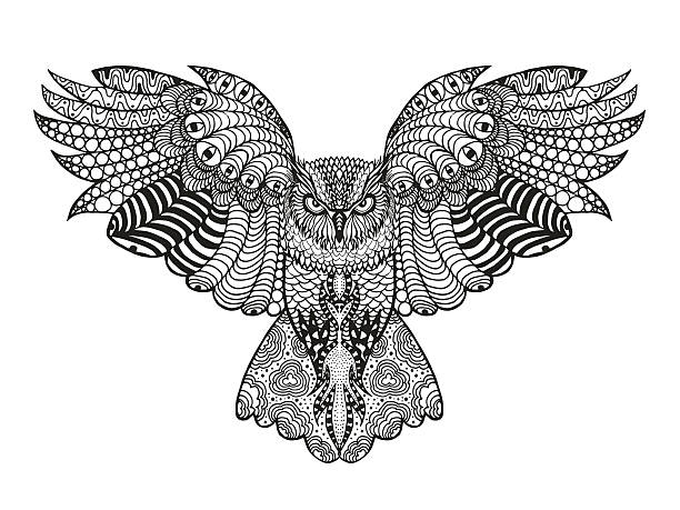 zentangle stilisierte eagle owl - vogel tattoos stock-grafiken, -clipart, -cartoons und -symbole