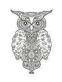 Birds. Black white hand drawn doodle. Ethnic patterned vector illustration. African, indian, totem, tribal, design. Sketch for avatar, adult antistress coloring page, tattoo, poster, print, t-shirt