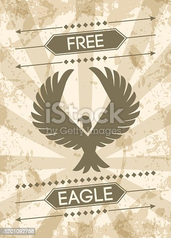 Eagle grunge style poster with flat bird silhouette and text vector illustration