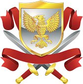 Vector Illustration of shield with eagle motif and crossed swords and red banners.