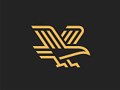 Eagle sign, linear style. Vector format.