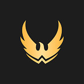 Golden eagle sign with spread wings - luxury minimalist vector icon