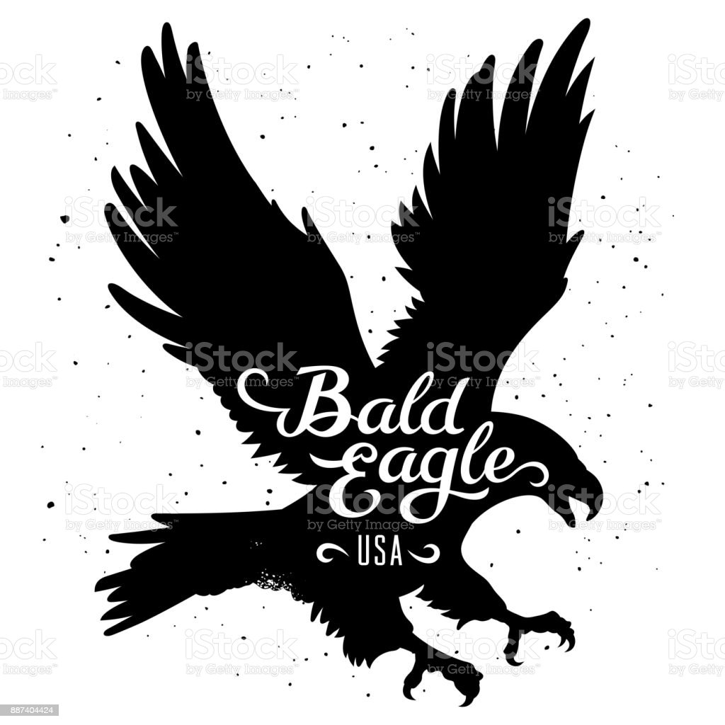 Eagle silhouette 002 vector art illustration