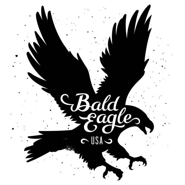 illustrations, cliparts, dessins animés et icônes de silhouette de eagle 002 - aigle