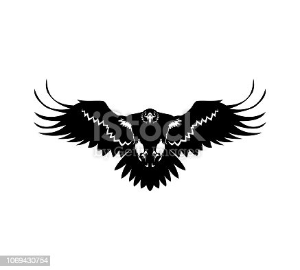Eagle cut out silhouette with spread wings