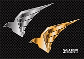 Eagle  silver and gold on dark gray circle mesh design vector illustration.