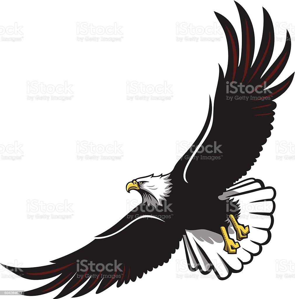Eagle soaring vector art illustration