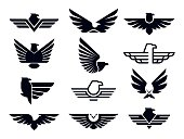 Eagle symbol. Silhouette flying eagles emblem, winged badge and freedom hawk wings stencil. Fly wing logo, falcon heraldic stamp or usa army uniform sticker. Isolated vector icons bundle