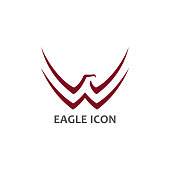 Eagle symbol with stylized spread wings - minimalist vector icon