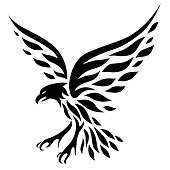 Eagle tattoo design, silohuette illustraiton...
