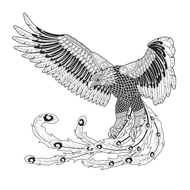 ilustrações, clipart, desenhos animados e ícones de eagle arte tailandesa - fontes de tatuagem