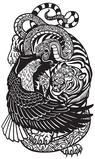 eagle tiger and snake black and white