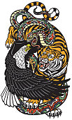 eagle snake and tiger. Three spiritual symbolic animals . Tattoo style vector illustration