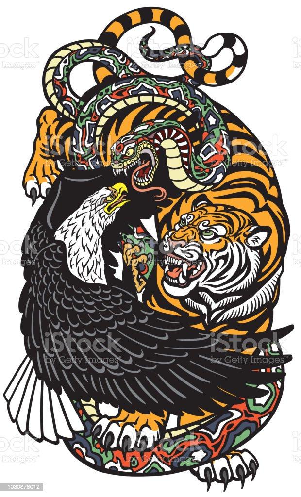 eagle tiger and snake vector art illustration
