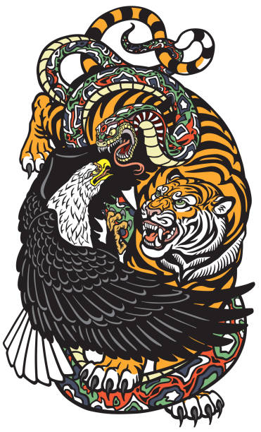 eagle tiger and snake eagle snake and tiger. Three spiritual symbolic animals . Tattoo style vector illustration snakes tattoos stock illustrations