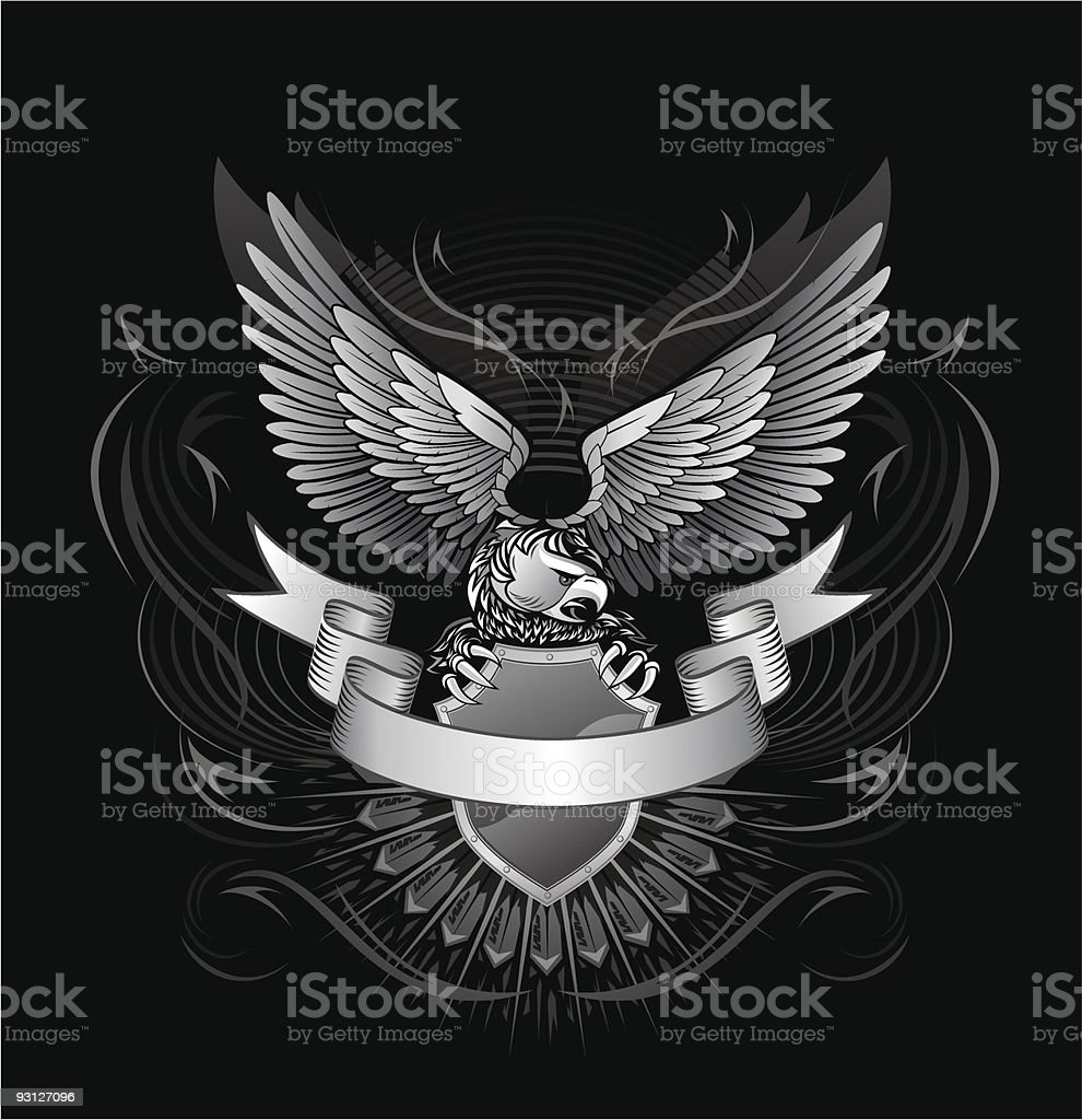 Eagle upon the shield vector art illustration