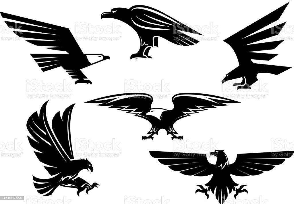 Eagle vector iconos aislados, emblemas heráldicos Ave - ilustración de arte vectorial