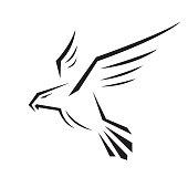 Eagle head illustration. Falcon Vector icon Template. Hawk Logo design.