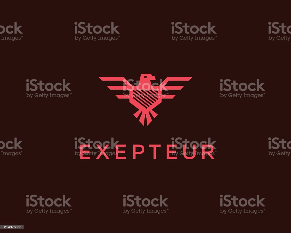 Eagle vector logotype. Falcon shield logo design template. Luxury brand vector art illustration