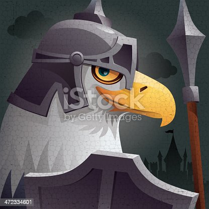 vector illustration of bald eagle warrior watching, with grunge background…