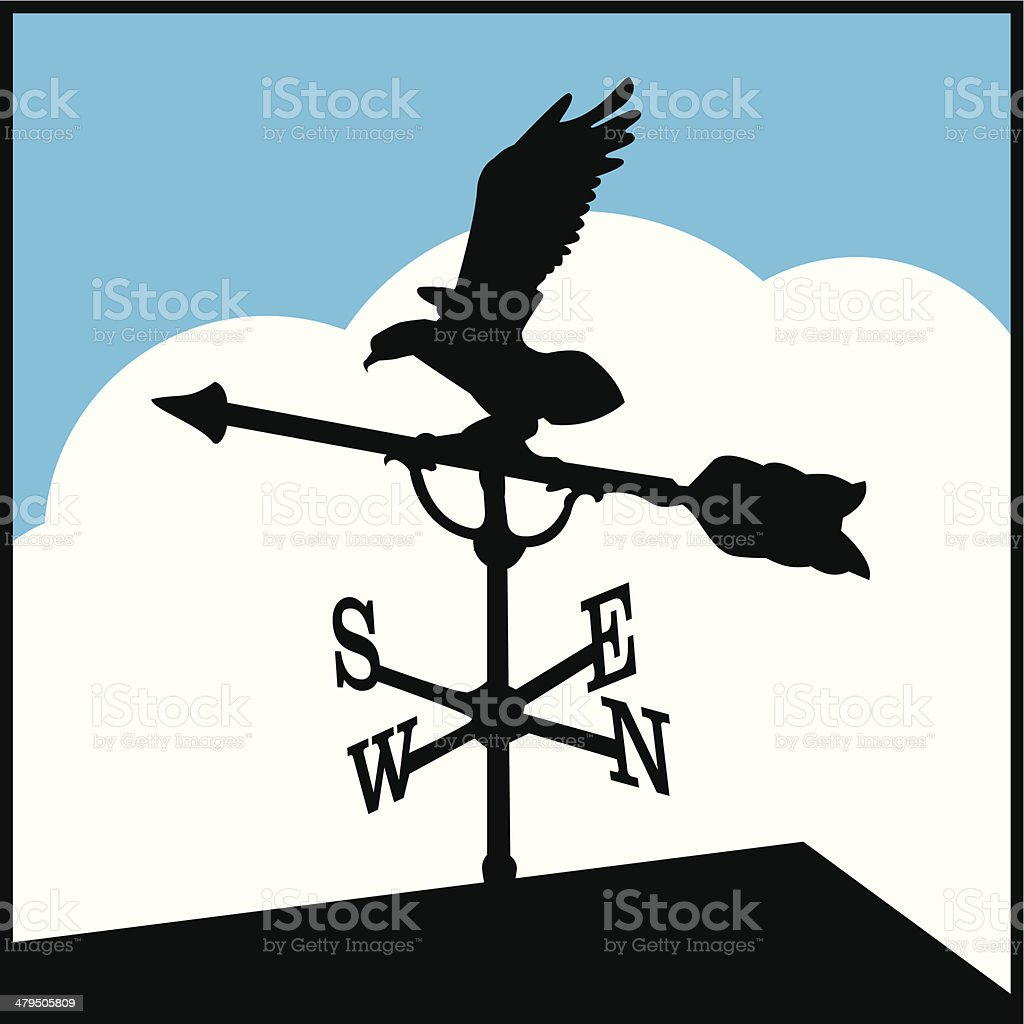 eagle weather vane vector art illustration