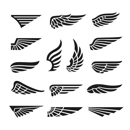 Eagle wings. Army minimal logo, wing graphics icons. Abstract retro black falcon bird badges, isolated flight emblem tidy vector collection on white