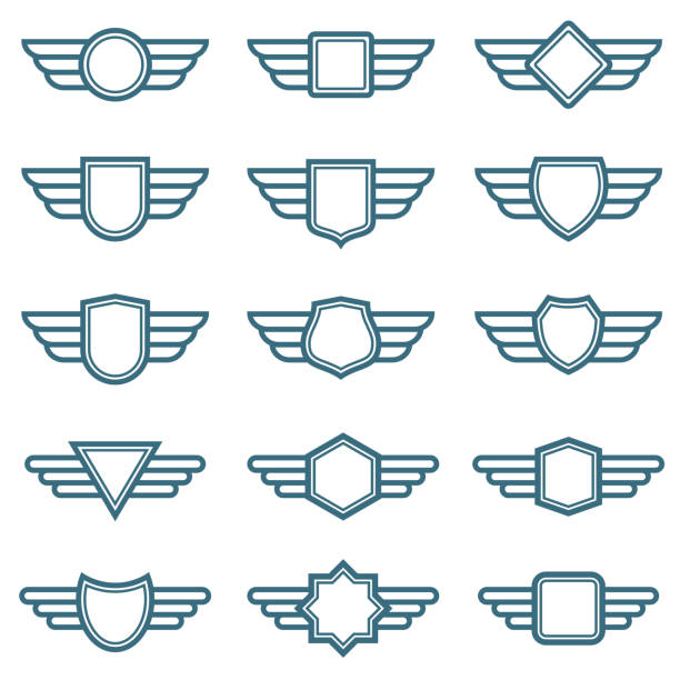 Eagle wings army vector badges. Aviation wing labels. Winged pilot emblems vector art illustration