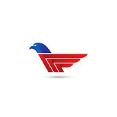 abstract eagle wings logo. vector animal template with blue and red color.