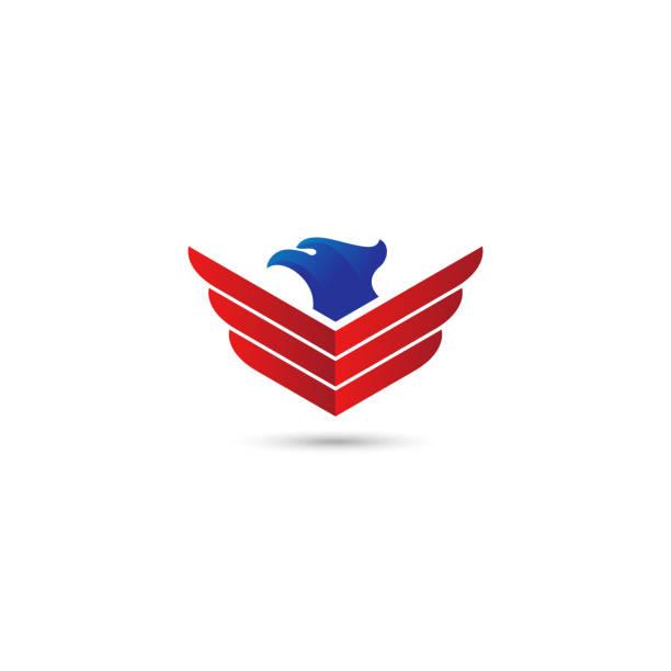 ilustrações de stock, clip art, desenhos animados e ícones de eagle wings vector logo. - um animal